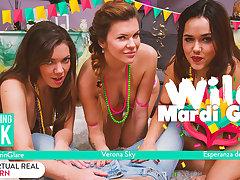 Ellie Springlare  Esperanza del Horno  Nick Ross  Verona Sky in Wild Mardi Gras - VirtualRealPorn