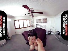 Virtual Reality Stepmom - Black-haired Busty mom teaches you!